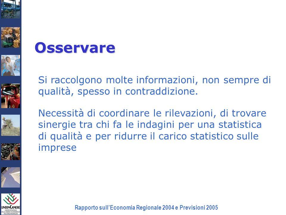 Rapporto sullEconomia Regionale 2004 e Previsioni 2005 Osservare Si raccolgono molte informazioni, non sempre di qualità, spesso in contraddizione. Ne