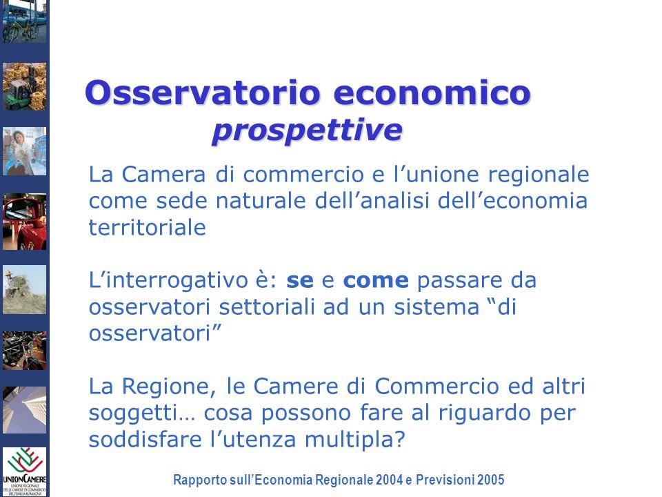 Rapporto sullEconomia Regionale 2004 e Previsioni 2005 Osservatorio economico prospettive La Camera di commercio e lunione regionale come sede natural