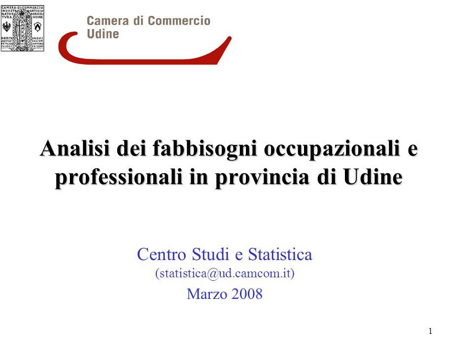 1 Analisi dei fabbisogni occupazionali e professionali in provincia di Udine Centro Studi e Statistica (statistica@ud.camcom.it) Marzo 2008