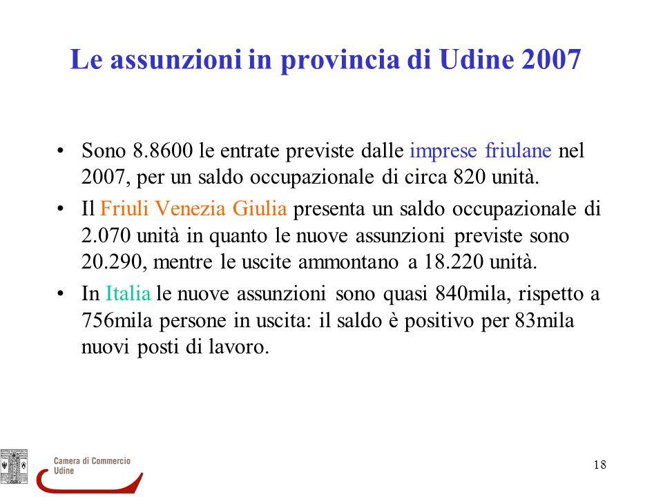 18 Le assunzioni in provincia di Udine 2007 Sono 8.8600 le entrate previste dalle imprese friulane nel 2007, per un saldo occupazionale di circa 820 u