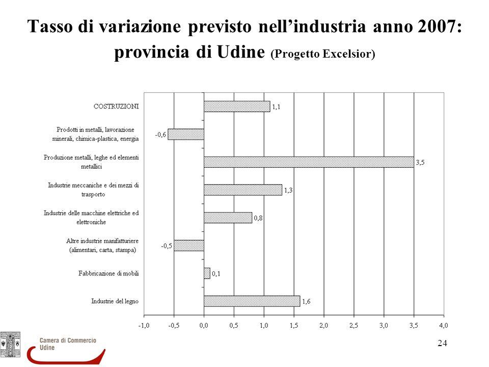 24 Tasso di variazione previsto nellindustria anno 2007: provincia di Udine (Progetto Excelsior)