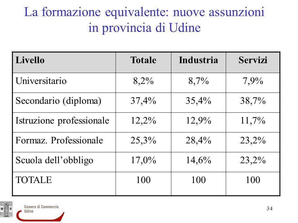 34 La formazione equivalente: nuove assunzioni in provincia di Udine LivelloTotaleIndustriaServizi Universitario8,2%8,7%7,9% Secondario (diploma)37,4%