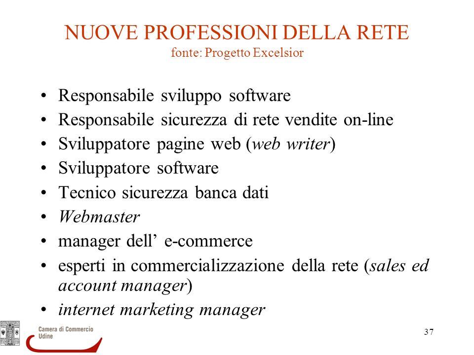 37 NUOVE PROFESSIONI DELLA RETE fonte: Progetto Excelsior Responsabile sviluppo software Responsabile sicurezza di rete vendite on-line Sviluppatore p