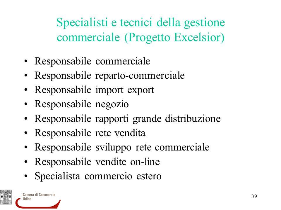 39 Specialisti e tecnici della gestione commerciale (Progetto Excelsior) Responsabile commerciale Responsabile reparto-commerciale Responsabile import