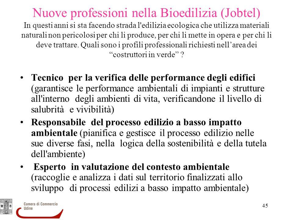 45 Nuove professioni nella Bioedilizia (Jobtel) In questi anni si sta facendo strada l'edilizia ecologica che utilizza materiali naturali non pericolo