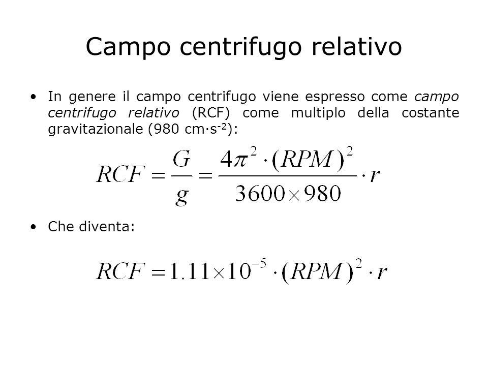 Campo centrifugo relativo In genere il campo centrifugo viene espresso come campo centrifugo relativo (RCF) come multiplo della costante gravitazional