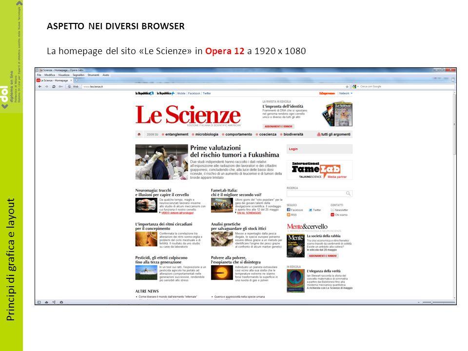 ASPETTO NEI DIVERSI BROWSER La homepage del sito «Le Scienze» in Opera 12 a 1920 x 1080 Principi di grafica e layout