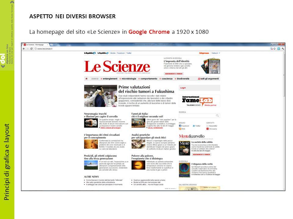 ASPETTO NEI DIVERSI BROWSER La homepage del sito «Le Scienze» in Google Chrome a 1920 x 1080 Principi di grafica e layout