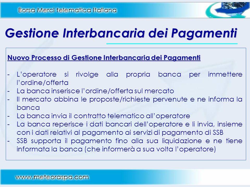 Gestione Interbancaria dei Pagamenti Nuovo Processo di Gestione Interbancaria dei Pagamenti -Loperatore si rivolge alla propria banca per immettere lo
