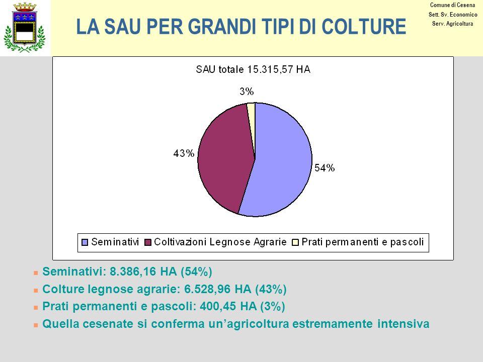 LA SAU PER GRANDI TIPI DI COLTURE Seminativi: 8.386,16 HA (54%) Colture legnose agrarie: 6.528,96 HA (43%) Prati permanenti e pascoli: 400,45 HA (3%) Quella cesenate si conferma unagricoltura estremamente intensiva Comune di Cesena Sett.
