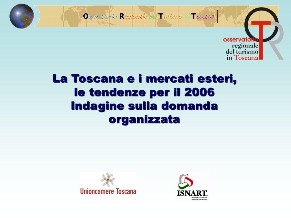 ORTT O sservatorio R egionale del T urismo in T oscana La Toscana e i mercati esteri, le tendenze per il 2006 Indagine sulla domanda organizzata