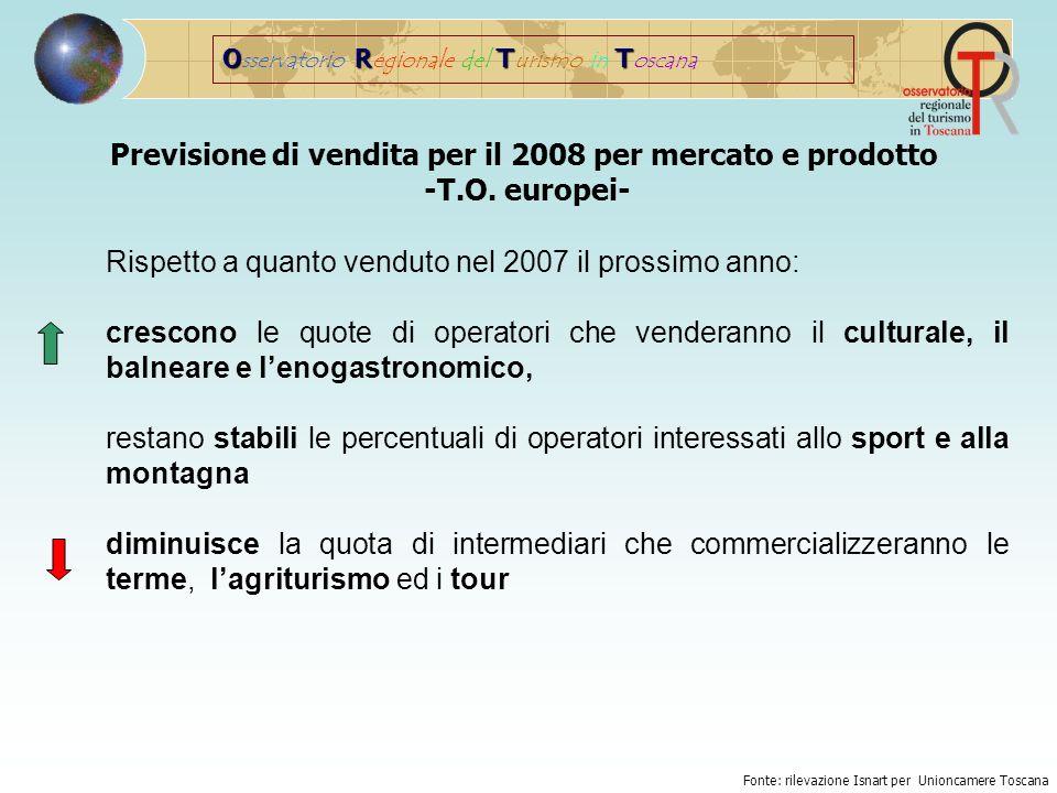 ORTT O sservatorio R egionale del T urismo in T oscana Previsione di vendita per il 2008 per mercato e prodotto -T.O.