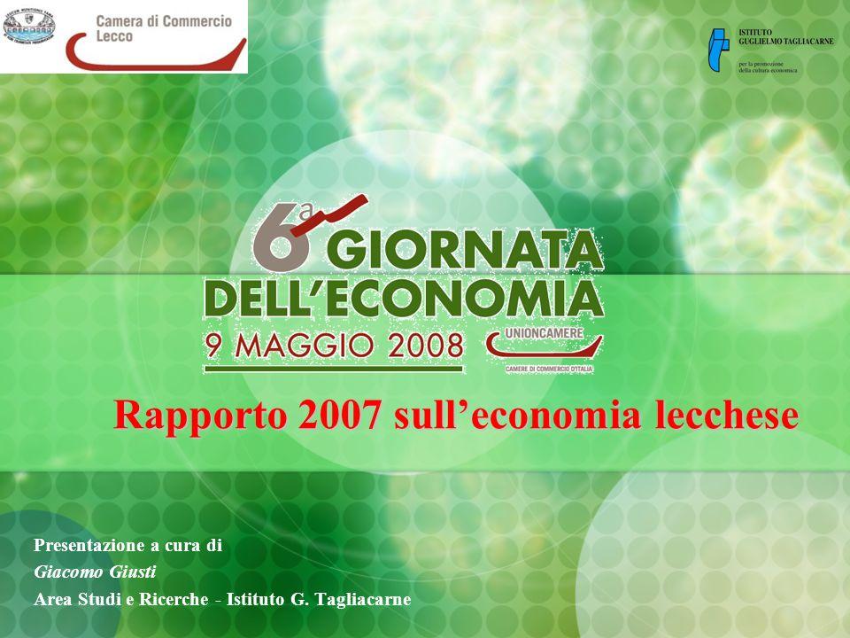 Rapporto 2007 sulleconomia lecchese Presentazione a cura di Giacomo Giusti Area Studi e Ricerche - Istituto G.