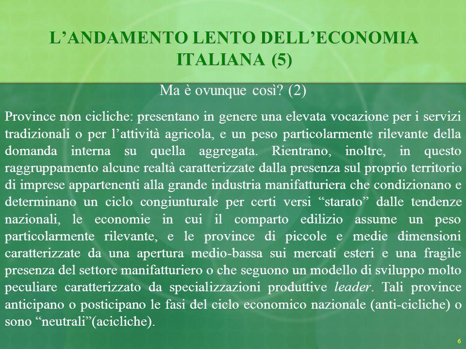 6 LANDAMENTO LENTO DELLECONOMIA ITALIANA (5) Ma è ovunque così.
