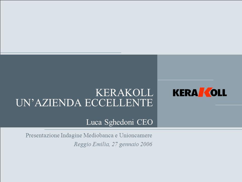 Overview del Gruppo Kerakoll nasce nel 1968 a Sassuolo, nel cuore del comprensorio ceramico mondiale, dallintuizione del suo fondatore e attuale Presidente Romano Sghedoni.