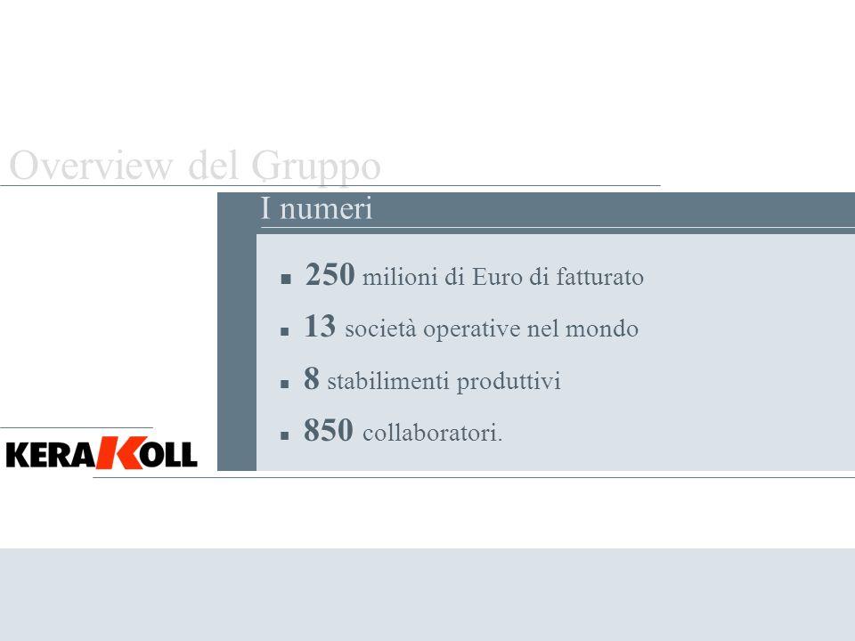Overview del Gruppo Il fatturato del Gruppo Kerakoll è cresciuto da 11 milioni di Euro nel 1990 a 250 milioni di Euro del 2005 di cui il 30% realizzato allestero..