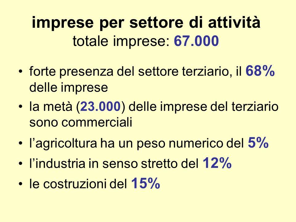 imprese per settore di attività totale imprese: 67.000 forte presenza del settore terziario, il 68% delle imprese la metà (23.000) delle imprese del terziario sono commerciali lagricoltura ha un peso numerico del 5% lindustria in senso stretto del 12% le costruzioni del 15%