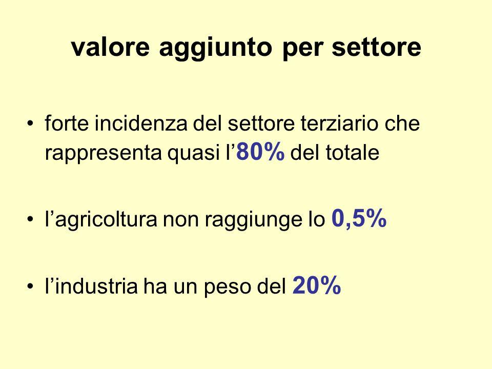 valore aggiunto per settore forte incidenza del settore terziario che rappresenta quasi l 80% del totale lagricoltura non raggiunge lo 0,5% lindustria ha un peso del 20%