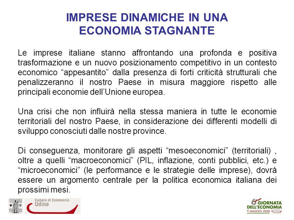 Le imprese italiane stanno affrontando una profonda e positiva trasformazione e un nuovo posizionamento competitivo in un contesto economico appesantito dalla presenza di forti criticità strutturali che penalizzeranno il nostro Paese in misura maggiore rispetto alle principali economie dellUnione europea.