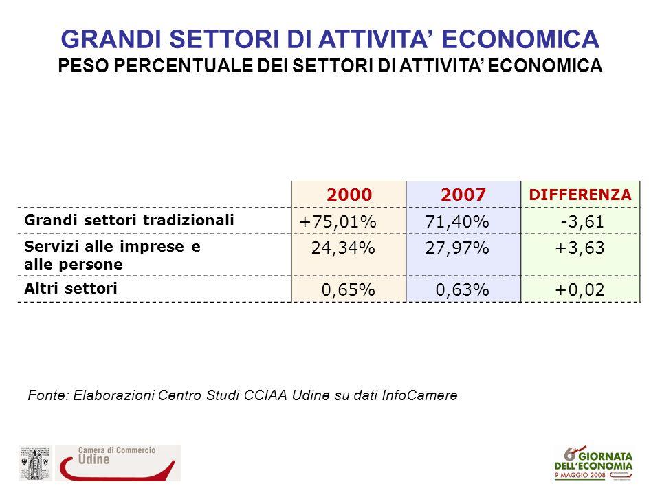 GRANDI SETTORI DI ATTIVITA ECONOMICA PESO PERCENTUALE DEI SETTORI DI ATTIVITA ECONOMICA 20002007 DIFFERENZA Grandi settori tradizionali +75,01%71,40%-3,61 Servizi alle imprese e alle persone 24,34%27,97%+3,63 Altri settori 0,65%0,63%+0,02 Fonte: Elaborazioni Centro Studi CCIAA Udine su dati InfoCamere