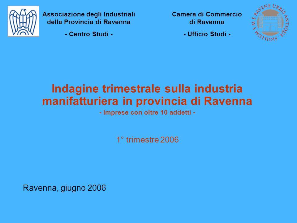 Indagine trimestrale sulla industria manifatturiera in provincia di Ravenna - Imprese con oltre 10 addetti - 1° trimestre 2006 Ravenna, giugno 2006 As