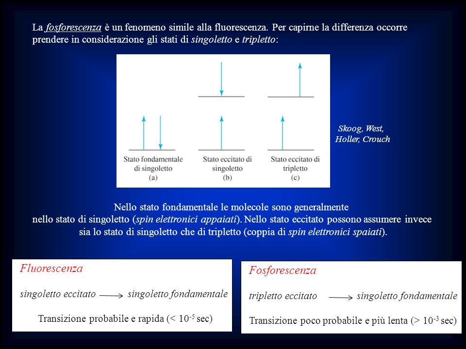 La fosforescenza è un fenomeno simile alla fluorescenza. Per capirne la differenza occorre prendere in considerazione gli stati di singoletto e triple