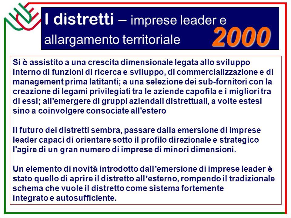 I distretti – imprese leader e allargamento territoriale Si è assistito a una crescita dimensionale legata allo sviluppo interno di funzioni di ricerc