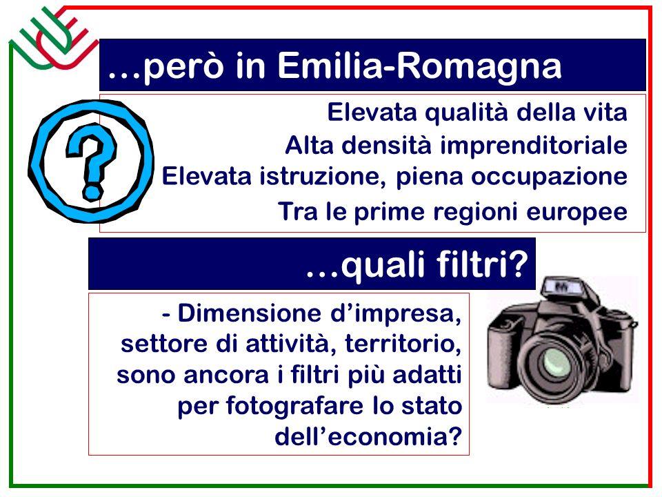Elevata qualità della vita …però in Emilia-Romagna Alta densità imprenditoriale Elevata istruzione, piena occupazione Tra le prime regioni europee …quali filtri.