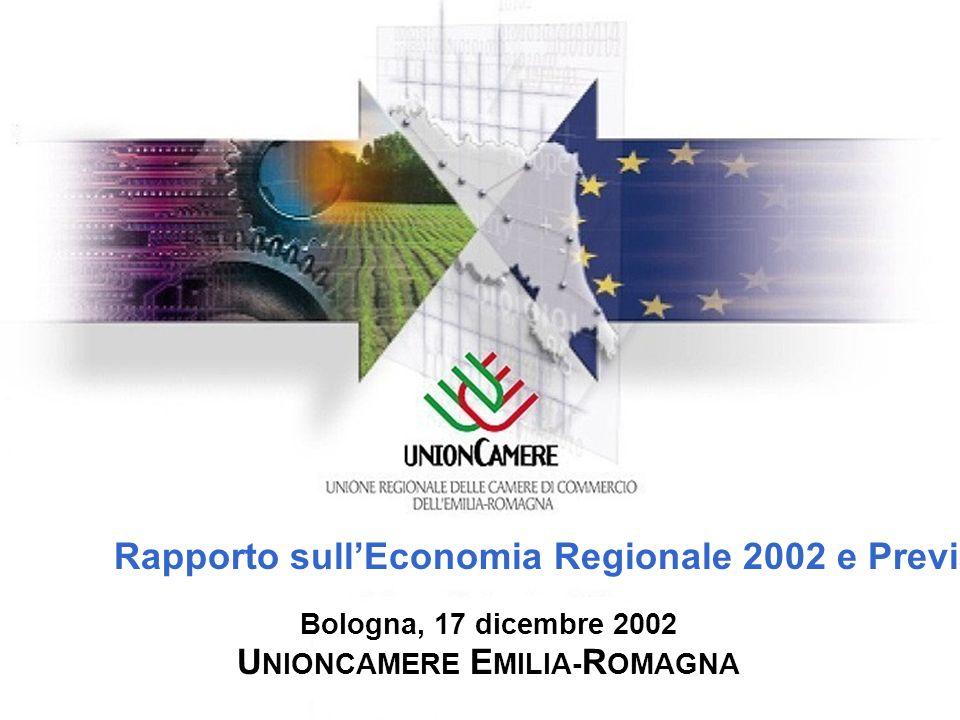 Rapporto sullEconomia Regionale 2002 e Previsioni 2003 Bologna, 17 dicembre 2002 U NIONCAMERE E MILIA- R OMAGNA