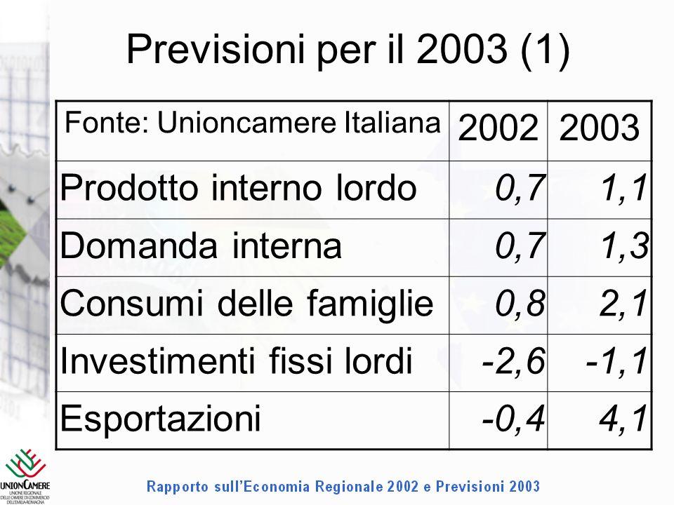 Previsioni per il 2003 (1) Fonte: Unioncamere Italiana 20022003 Prodotto interno lordo0,71,1 Domanda interna0,71,3 Consumi delle famiglie0,82,1 Investimenti fissi lordi-2,6-1,1 Esportazioni-0,44,1