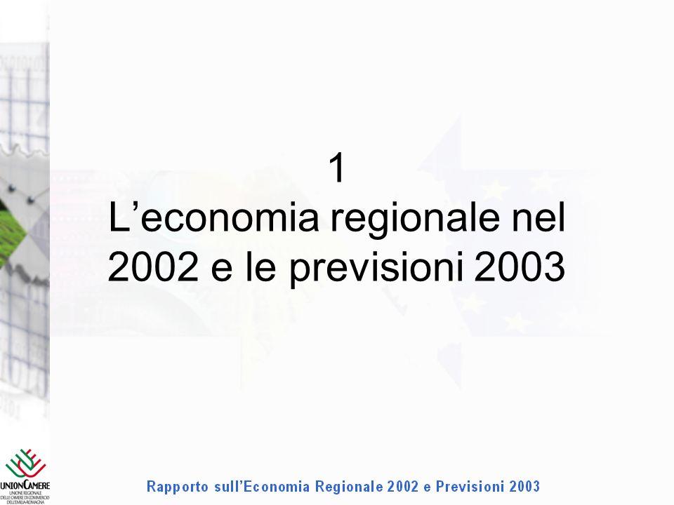 1 Leconomia regionale nel 2002 e le previsioni 2003