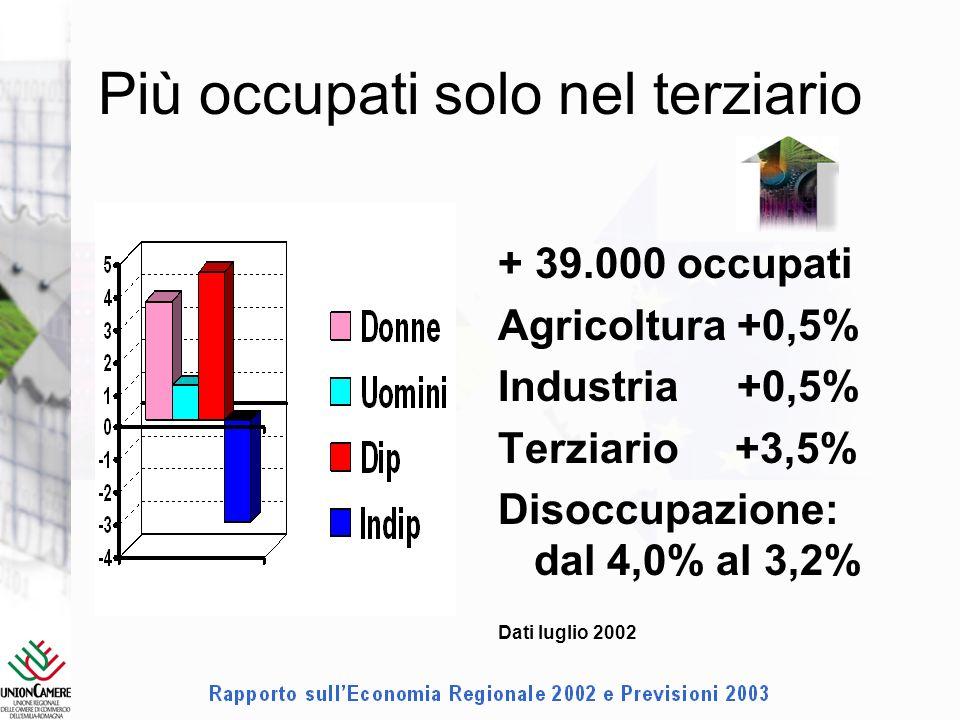 Più occupati solo nel terziario + 39.000 occupati Agricoltura +0,5% Industria +0,5% Terziario +3,5% Disoccupazione: dal 4,0% al 3,2% Dati luglio 2002