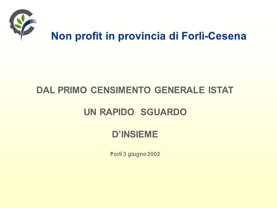 Non profit in provincia di Forlì-Cesena DAL PRIMO CENSIMENTO GENERALE ISTAT UN RAPIDO SGUARDO DINSIEME Forlì 3 giugno 2002