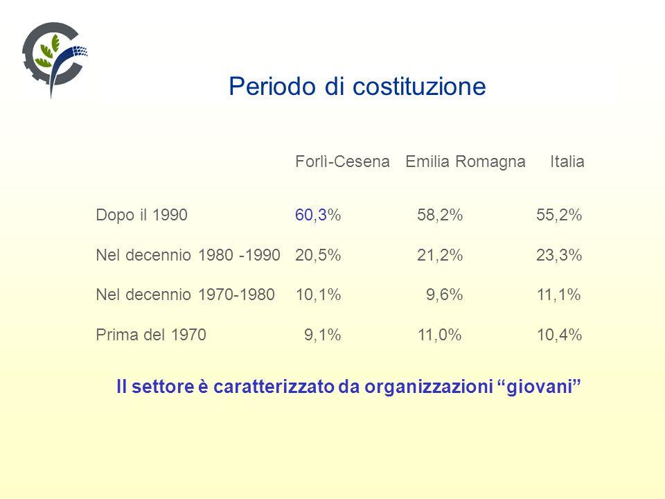 Periodo di costituzione Forlì-Cesena Emilia Romagna Italia Dopo il 199060,3% 58,2% 55,2% Nel decennio 1980 -199020,5% 21,2% 23,3% Nel decennio 1970-198010,1% 9,6% 11,1% Prima del 1970 9,1% 11,0% 10,4% Il settore è caratterizzato da organizzazioni giovani