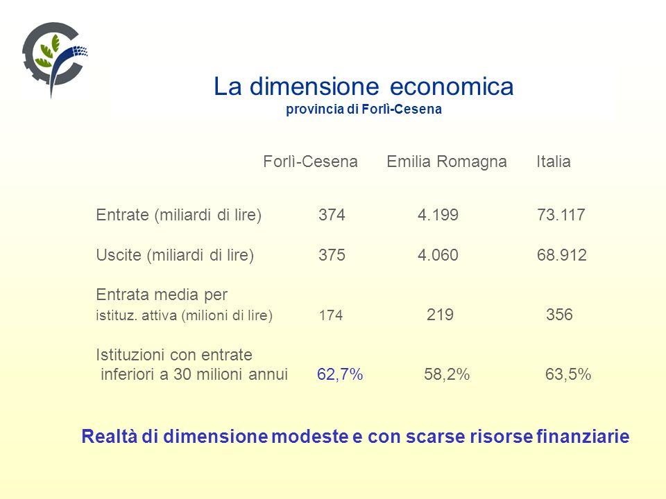 La dimensione economica provincia di Forlì-Cesena Forlì-Cesena Emilia Romagna Italia Entrate (miliardi di lire) 374 4.199 73.117 Uscite (miliardi di lire) 375 4.060 68.912 Entrata media per istituz.
