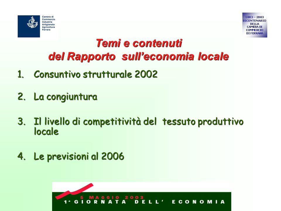 1.Consuntivo strutturale 2002 2.La congiuntura 3.Il livello di competitività del tessuto produttivo locale 4.Le previsioni al 2006 Temi e contenuti del Rapporto sulleconomia locale
