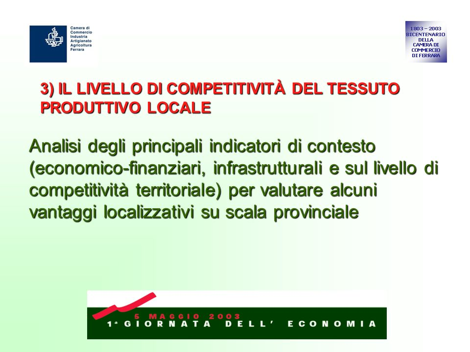3) IL LIVELLO DI COMPETITIVITÀ DEL TESSUTO PRODUTTIVO LOCALE Analisi degli principali indicatori di contesto (economico-finanziari, infrastrutturali e sul livello di competitività territoriale) per valutare alcuni vantaggi localizzativi su scala provinciale