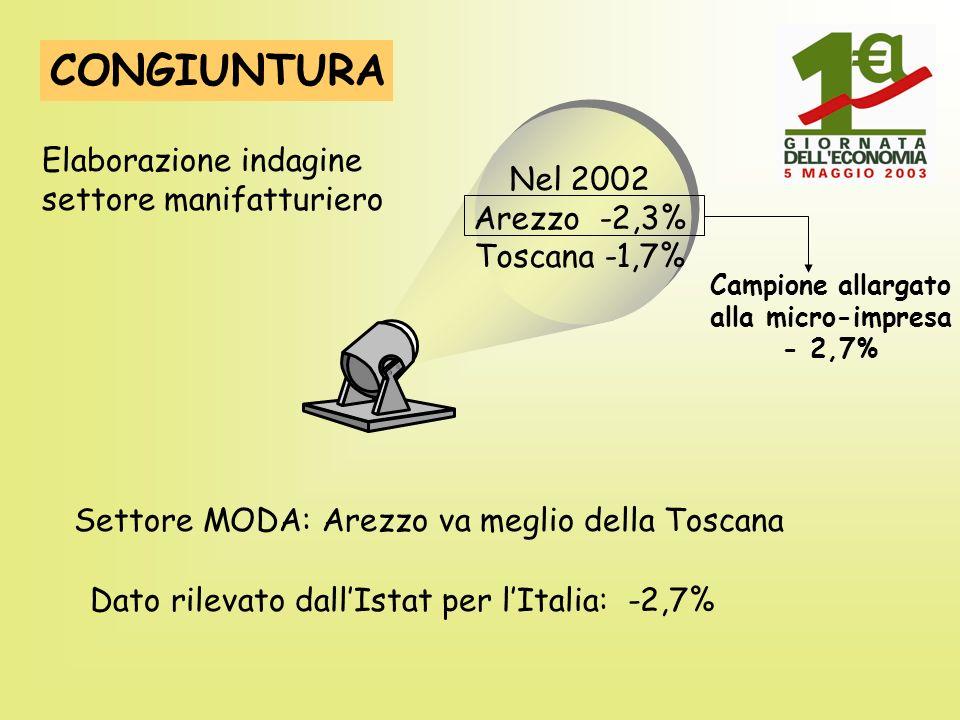CONGIUNTURA Elaborazione indagine settore manifatturiero Nel 2002 Arezzo -2,3% Toscana -1,7% Campione allargato alla micro-impresa - 2,7% Settore MODA