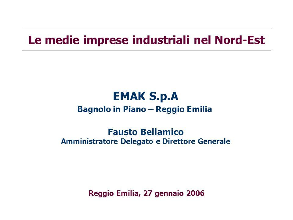 Le medie imprese industriali nel Nord-Est Reggio Emilia, 27 gennaio 2006 EMAK S.p.A Bagnolo in Piano – Reggio Emilia Fausto Bellamico Amministratore D