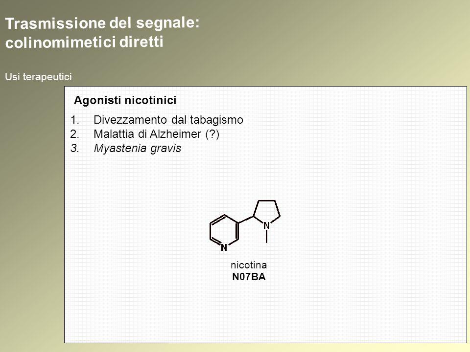 Usi terapeutici Agonisti nicotinici 1.Divezzamento dal tabagismo 2.Malattia di Alzheimer (?) 3.Myastenia gravis Trasmissione del segnale: colinomimetici diretti nicotina N07BA