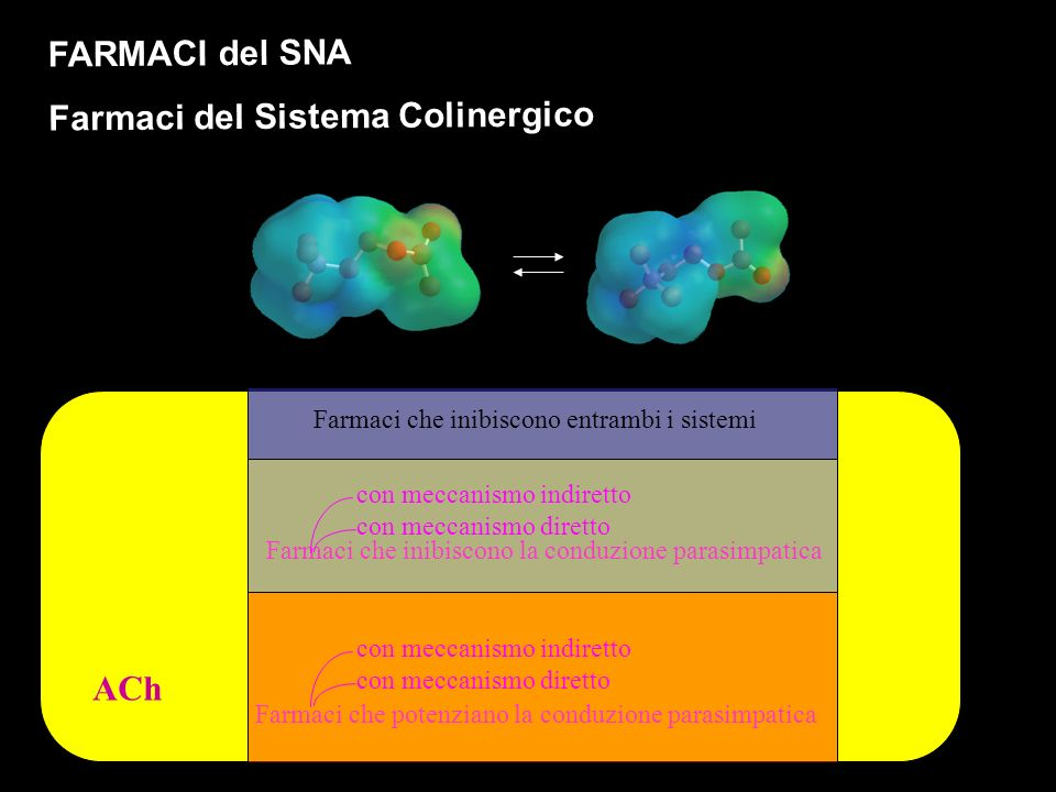 ACh FARMACI del SNA Farmaci del Sistema Colinergico Farmaci che inibiscono la conduzione parasimpatica Farmaci che inibiscono entrambi i sistemi Farmaci che potenziano la conduzione parasimpatica con meccanismo indiretto con meccanismo diretto con meccanismo indiretto con meccanismo diretto