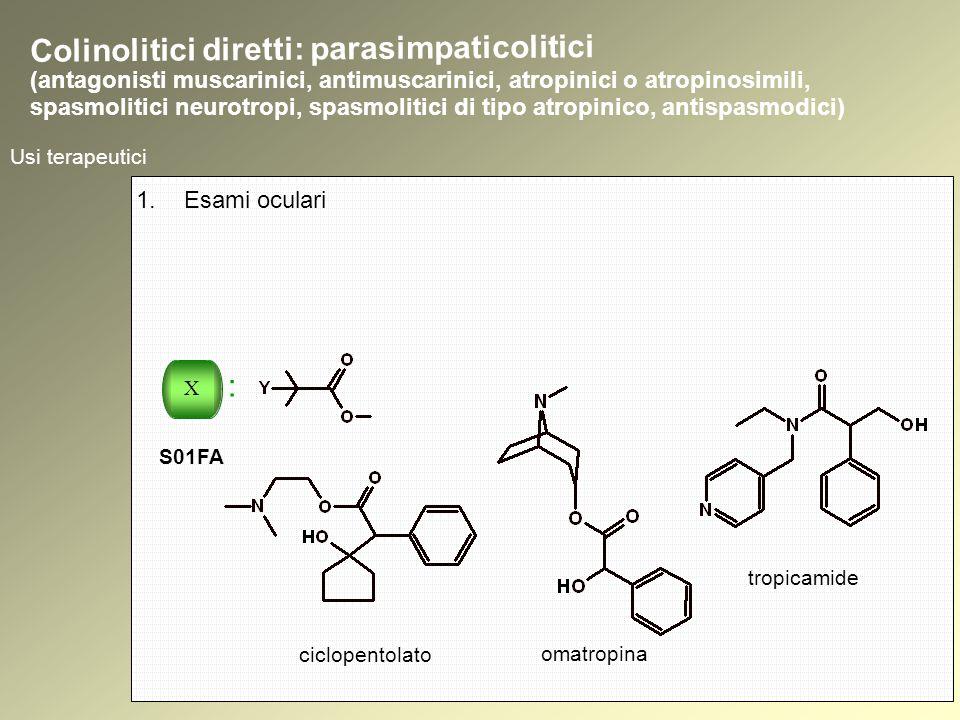 Usi terapeutici 1.Esami oculari ciclopentolato omatropina tropicamide Colinolitici diretti: parasimpaticolitici (antagonisti muscarinici, antimuscarinici, atropinici o atropinosimili, spasmolitici neurotropi, spasmolitici di tipo atropinico, antispasmodici) X : S01FA