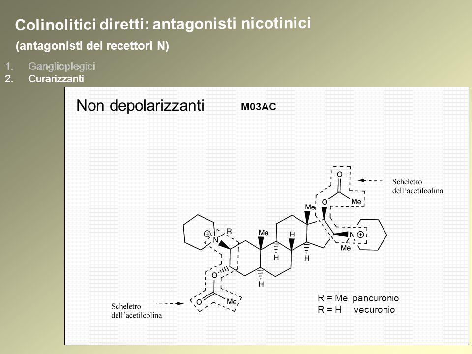 1.Ganglioplegici 2.Curarizzanti (antagonisti dei recettori N) 1.Ganglioplegici 2.Curarizzanti Colinolitici diretti: antagonisti nicotinici Non depolarizzanti M03AC R = Me pancuronio R = H vecuronio