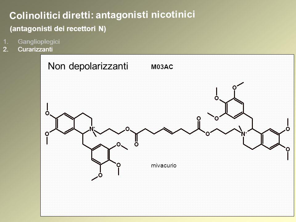 1.Ganglioplegici 2.Curarizzanti (antagonisti dei recettori N) 1.Ganglioplegici 2.Curarizzanti Colinolitici diretti: antagonisti nicotinici Non depolarizzanti mivacurio M03AC