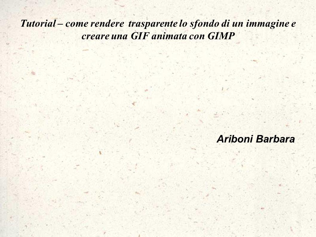 Ariboni Barbara Tutorial – come rendere trasparente lo sfondo di un immagine e creare una GIF animata con GIMP