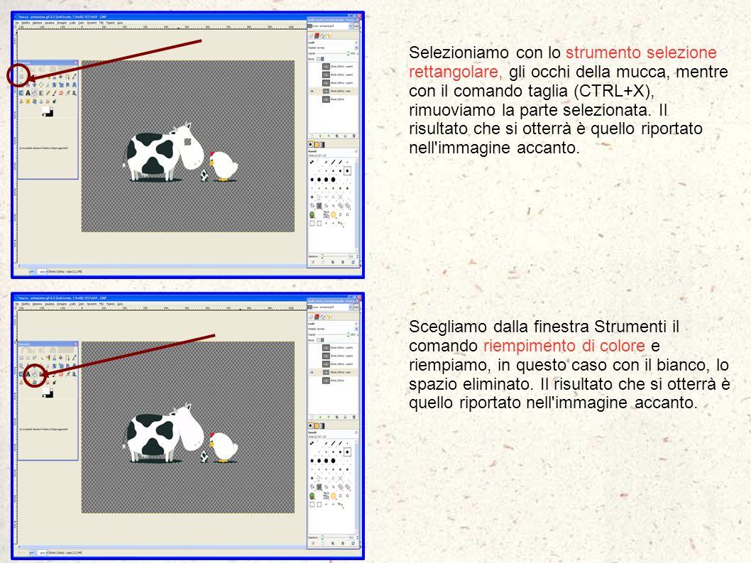 Selezioniamo con lo strumento selezione rettangolare, gli occhi della mucca, mentre con il comando taglia (CTRL+X), rimuoviamo la parte selezionata. I