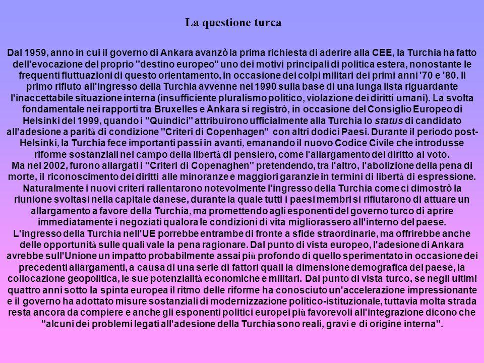 Dal 1959, anno in cui il governo di Ankara avanzò la prima richiesta di aderire alla CEE, la Turchia ha fatto dell'evocazione del proprio