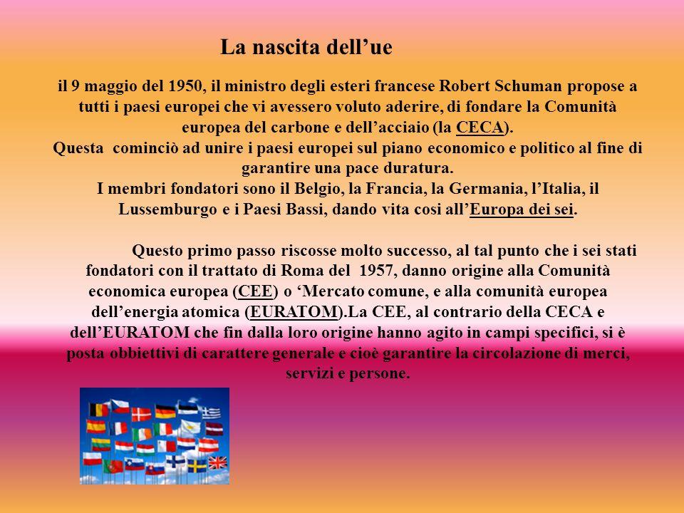 il 9 maggio del 1950, il ministro degli esteri francese Robert Schuman propose a tutti i paesi europei che vi avessero voluto aderire, di fondare la C