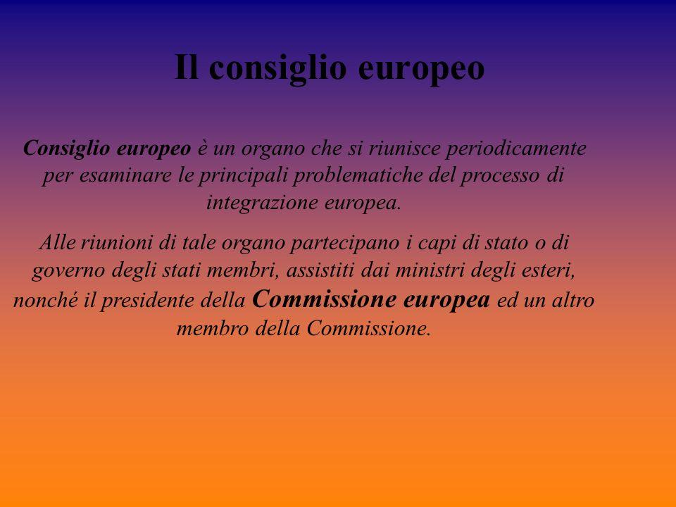 Il consiglio europeo Consiglio europeo è un organo che si riunisce periodicamente per esaminare le principali problematiche del processo di integrazio
