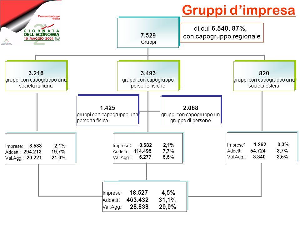 Gruppi dimpresa 6.540 gruppi 6.540 gruppi 6.540 gruppi 7.529 Gruppi 2.685 gruppi con capogruppo una societàitaliana 2.685 gruppi con capogruppo una so